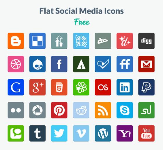 フラットデザインに似合うSNSアイコンなどが配布中 『35 Beautiful Free Flat Icons Sets that You can Use』2
