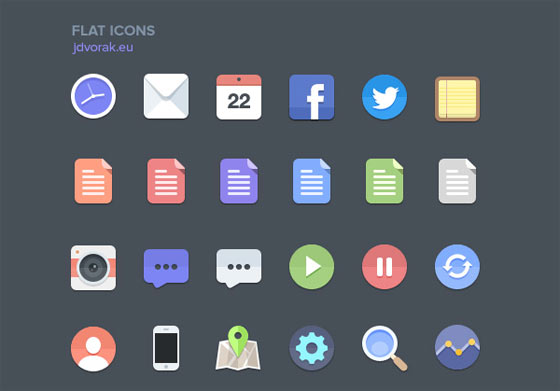 フラットデザインに似合うSNSアイコンなどが配布中 『35 Beautiful Free Flat Icons Sets that You can Use』33