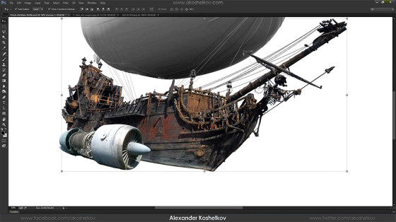 Photoshopの編集テクニックが素晴らしい!激しい砲撃戦を行う2隻の飛行船のアートワークを描く過程のタイムラプス動画1