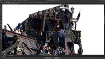 Photoshopの編集テクニックが素晴らしい!激しい砲撃戦を行う2隻の飛行船のアートワークを描く過程のタイムラプス動画2