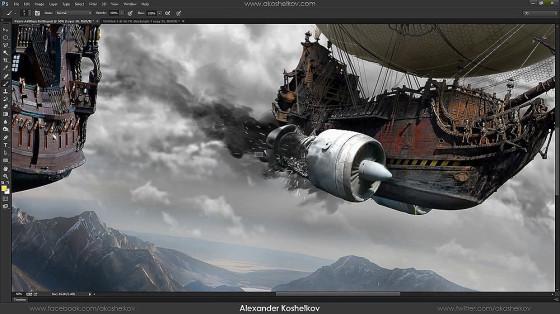 Photoshopの編集テクニックが素晴らしい!激しい砲撃戦を行う2隻の飛行船のアートワークを描く過程のタイムラプス動画3