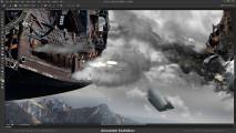 Photoshopの編集テクニックが素晴らしい!激しい砲撃戦を行う2隻の飛行船のアートワークを描く過程のタイムラプス動画4