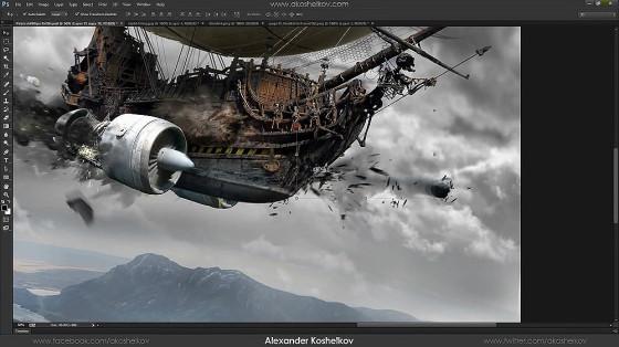 Photoshopの編集テクニックが素晴らしい!激しい砲撃戦を行う2隻の飛行船のアートワークを描く過程のタイムラプス動画5