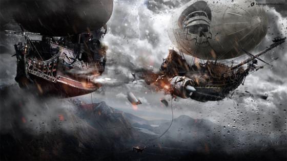 Photoshopの編集テクニックが素晴らしい!激しい砲撃戦を行う2隻の飛行船のアートワークを描く過程のタイムラプス動画6