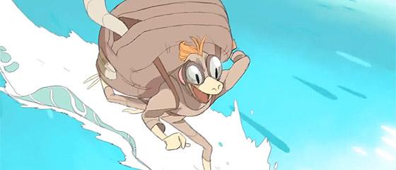 【動画】海の魔物から逃げつつ山の上の宝を目指す、もの凄いスピード感のあるアニメーション『 Basilisk 』
