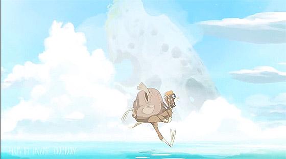 海の魔物から逃げつつ山の上の宝を目指す、もの凄いスピード感のあるアニメーション『 Basilisk 』1