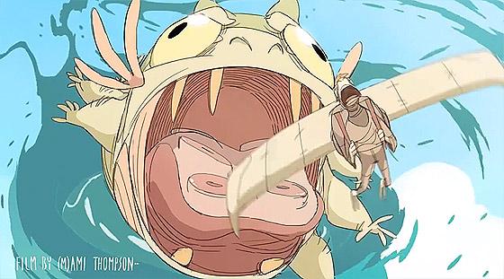 海の魔物から逃げつつ山の上の宝を目指す、もの凄いスピード感のあるアニメーション『 Basilisk 』4