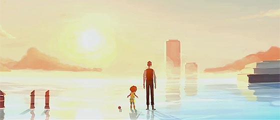 【動画】潮が満ちると海に沈んでしまう遺跡で、時計を集める男性と少女が出会う不思議な物語『 Contre temps 』