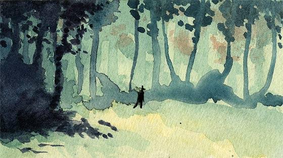 美しい水彩と木炭で描かれる、鹿を追う狩人の姿を描いた不思議な物語『 Kith 』1