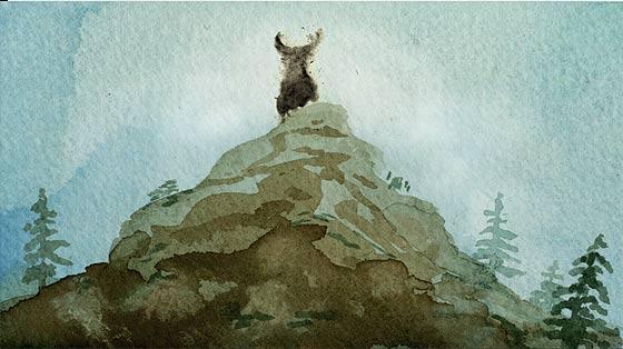 美しい水彩と木炭で描かれる、鹿を追う狩人の姿を描いた不思議な物語『 Kith 』2
