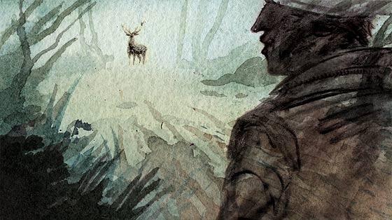 美しい水彩と木炭で描かれる、鹿を追う狩人の姿を描いた不思議な物語『 Kith 』3