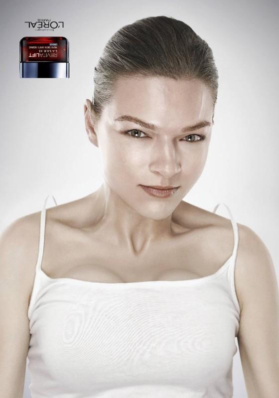 アンチエイジングやたるんだお肌を上げるリフトアップを上手く表現した、L'Orealのクリエイティブな広告『Revitalift Upside Down』4