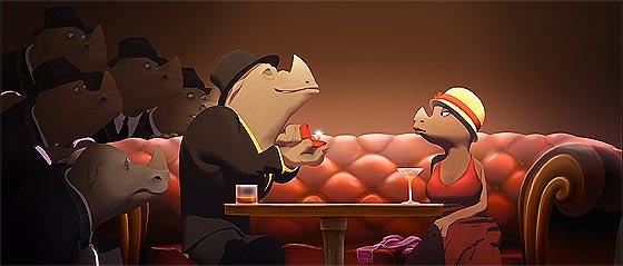 サイとカエルの2大ギャングの抗争を、ジャズの音色と共に送る3DCGアニメーション『 Omerta 』1