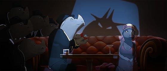 サイとカエルの2大ギャングの抗争を、ジャズの音色と共に送る3DCGアニメーション『 Omerta 』2