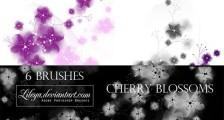 桜の花や花びらを表現したPhotoshopブラシ素材『25 Delicate-Looking Cherry Blossom Brushes』1