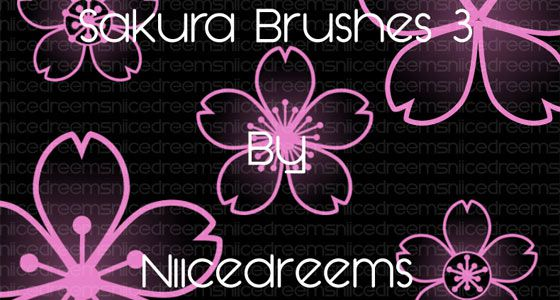 桜の花や花びらを表現したPhotoshopブラシ素材『25 Delicate-Looking Cherry Blossom Brushes』3