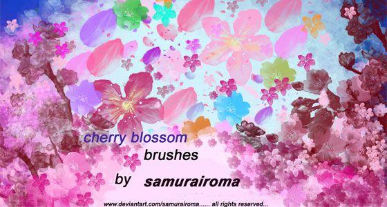 桜の花や花びらを表現したPhotoshopブラシ素材『25 Delicate-Looking Cherry Blossom Brushes』5