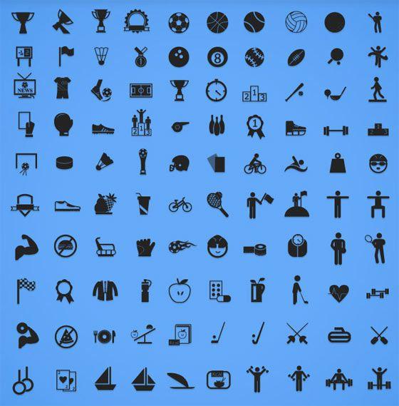 スポーツに関する単色でシンプルなアイコン素材100種類