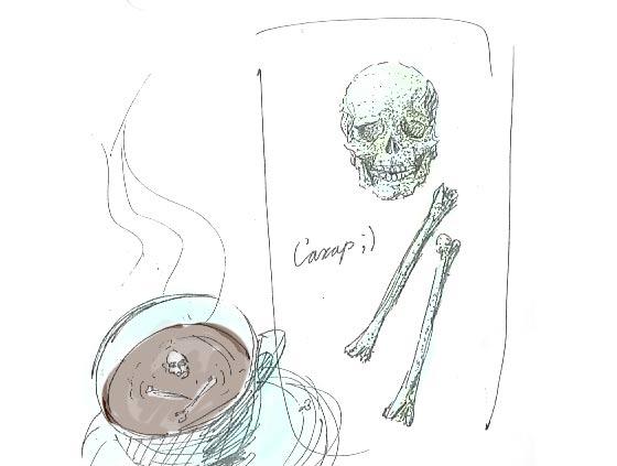 暗い液体に浮かぶ髑髏と骨の形をした角砂糖のコンセプトモデル6