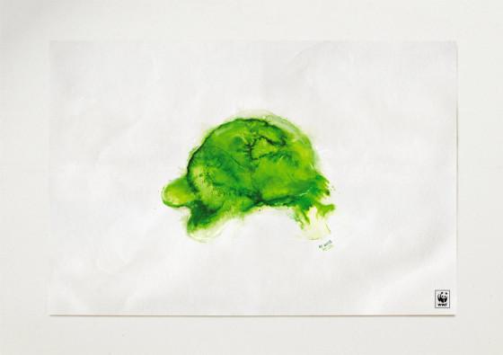 水が無くなったら干からびて死んでしまう事を端的に表現したWWFのポスター広告 『 No water, no life. 』1