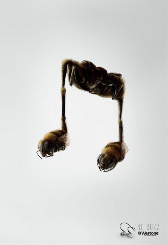 このイヤフォンなら虫のイヤ~な羽音は気にならない!? というクリエイティブなポスター広告2
