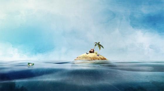 無人島で腹を空かせる男性の元に流れ着いたスナック菓子のCM1