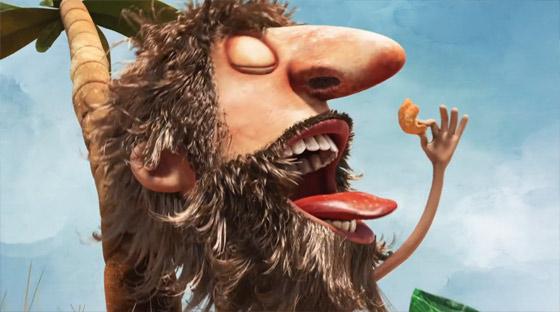無人島で腹を空かせる男性の元に流れ着いたスナック菓子のCM3