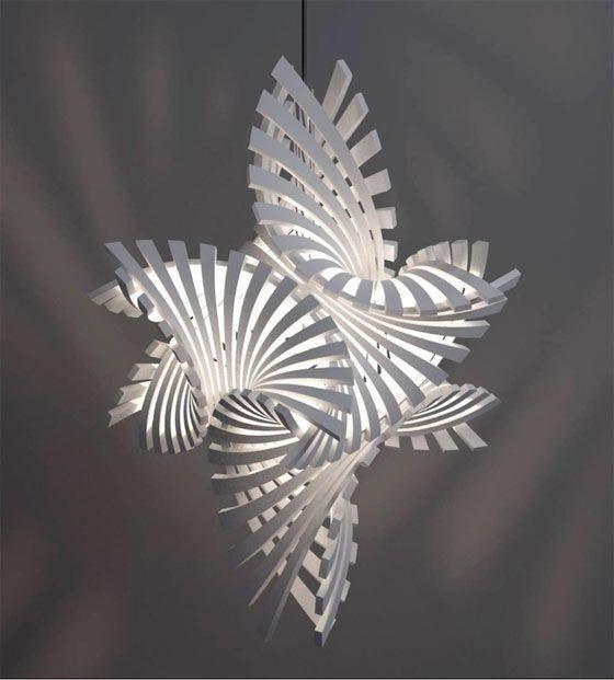 3Dプリンターで創る事を活かした、複雑で幾何学的な形状の照明器具1