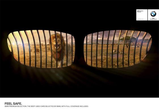 BMWの車はとっても安全です!という事を、特徴的な車のパーツを使って上手く表現したクリエイティブなポスター広告