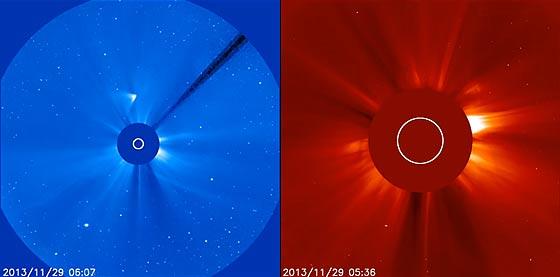 SOHO(太陽・太陽圏観測衛星)によって撮影された、アイソン彗星の美しいコロナダイブ映像4