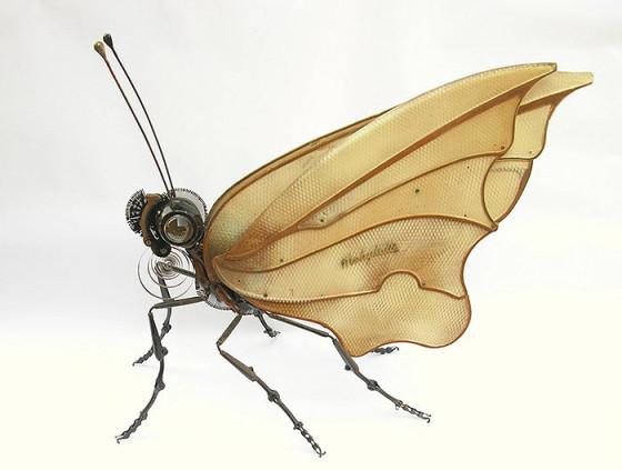 工業製品の廃材を組み合わせて作られた、とてもリアルでスチームパンクな生き物たちの彫刻作品4