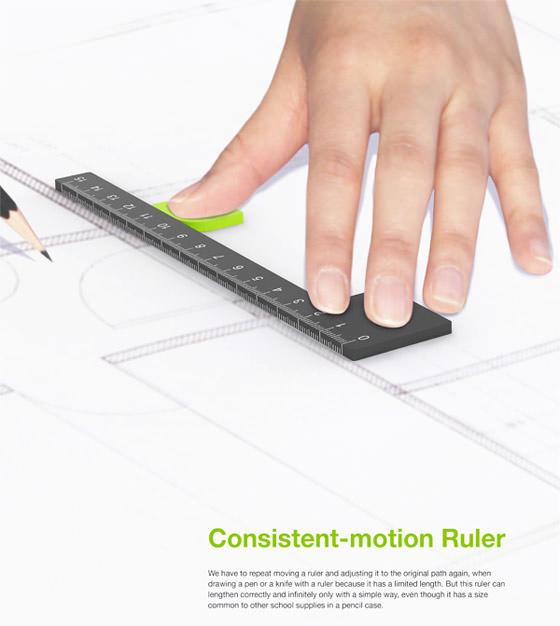 直線を描く時に、定規を滑らせながら繋いで描ける定規1