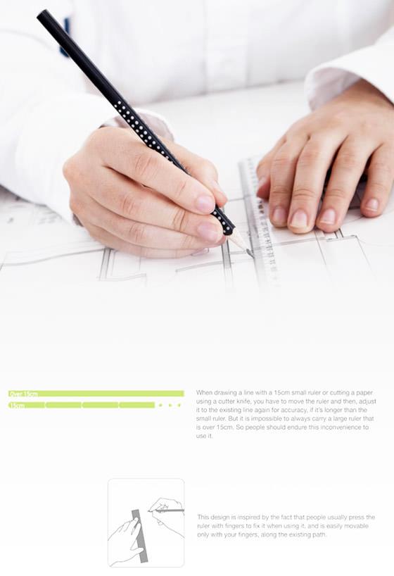 直線を描く時に、定規を滑らせながら繋いで描ける定規3