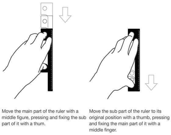直線を描く時に、定規を滑らせながら繋いで描ける定規4