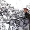【動画】指先から紡ぎだされる、1枚の壮大なイラストレーションを描く様子を収めたタイムラプス映像