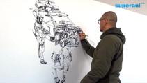 指先から紡ぎだされる、1枚の壮大なイラストレーションを描く様子を収めたタイムラプス映像2