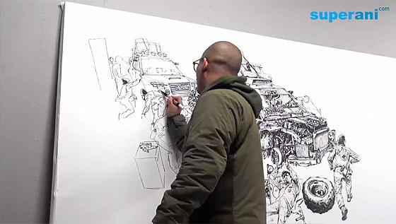 指先から紡ぎだされる、1枚の壮大なイラストレーションを描く様子を収めたタイムラプス映像3