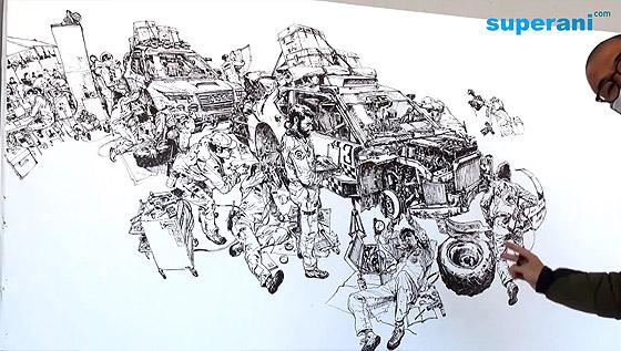 指先から紡ぎだされる、1枚の壮大なイラストレーションを描く様子を収めたタイムラプス映像4