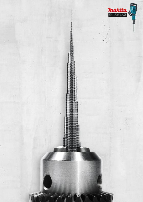 makita(マキタ)の電動工具は世界中で様々な建築を支えている事を暗示した、シンプルで力強いポスター広告3