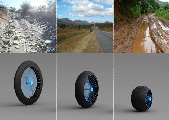 荒地・未舗装路・泥地のそれぞれに1つの車輪で対応できる、新しいホイールのコンセプトが面白い1