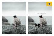 犬のいる風景と犬のいない風景を巧みに対比したペディグリーのシンプルなポスター広告1