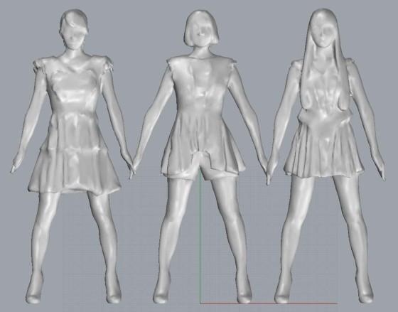 Purfumeの3人の3Dスキャンデータを滑らかに表示