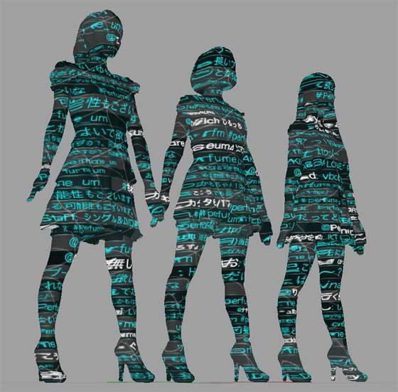 Perfumeの3人の3Dスキャンデータに表面材質を設定2