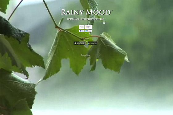 雨音と遠くで鳴り響く雷の音をエンドレスで流してくれる、聞いているとリラックスできるウェブサイト『 Rainy Mood 』