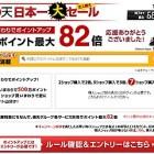 【オススメ】祝!楽天日本一!楽天市場では日本一を記念してポイント最大82倍キャンペーン他、半額や77%OFFセールが開催中