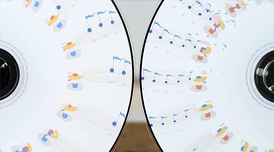 フェナキストスコープというアニメーション技法を元に作られた、SOURの音楽PV『 Life is Music 』4