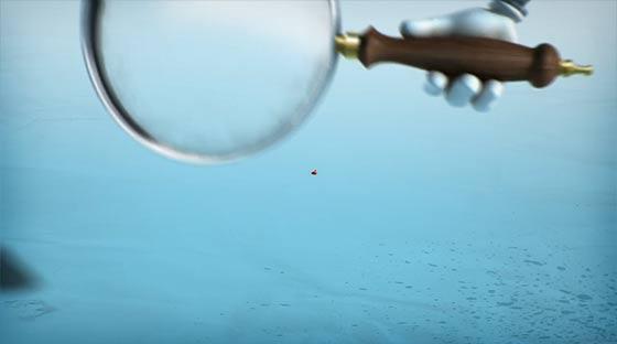 虫めがねで覗くたびに大きくなっていく生物に恐れおののくロボットを描いた3DCGアニメーション『SuperBot-A magnifying mess』2