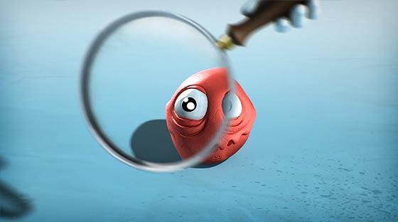 虫めがねで覗くたびに大きくなっていく生物に恐れおののくロボットを描いた3DCGアニメーション『SuperBot-A magnifying mess』3