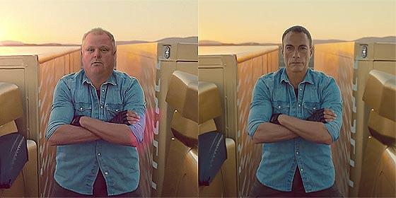 ジャン=クロード・ヴァン・ダムが2台のボルボのトラックの上で大開脚!の映像をカナダ・トロント市長Rob Fordがやってみた!【ネタ】4